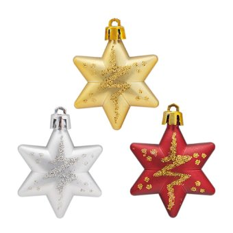 S & F Christmas Stars Decorations Tree 5 x 5cm 5 Piece Gold - Intl