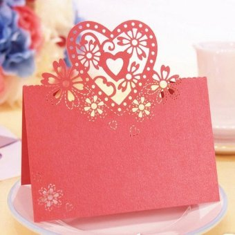 S & F Cut-out Wedding Party Christmas Table Decor Place Name Cards 12 Pcs Red (Intl)