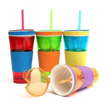 S & F 2 in1 Travel Snack Drink Cup Bottle Container Lid Straw (Multicolor) (Intl)