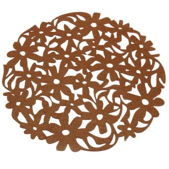 S & F Flower Felt Table Round Placemats Kitchen Dinner 30x30cm Brown (Intl)