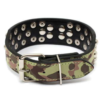 S & F New Adjustable 2x20inch PU Rivet Studded Dog Collars for Breeds XS Camouflage (Intl)