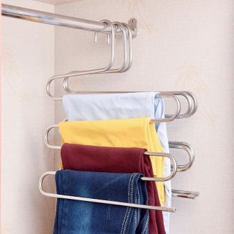 S-type-shaped multi-layer clothes rack stainless steel hanger