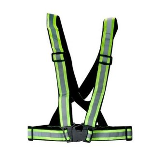 Safety Security Visibility Reflective Vest Gear Stripes Jacket (Green )