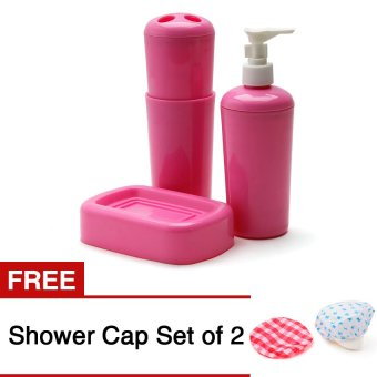 Sam's Home Goods Bathroom Kit Set of 4 (Pink) with Free Shower CapSet of 2 Price Philippines