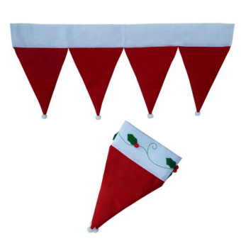 Santa Claus Hats Window Valance Christmas Decorations Xmas Curtain Ornaments Red - picture 2