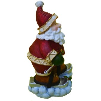 Santa Claus Ski with 2 ski poles in snow Christmas figurine (Made of Fiberglass Resin) by Everything About Santa (Christmas decoration and gift suggestion) - picture 2