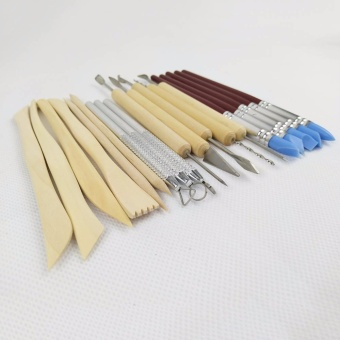 Sculpting Tools- 14 Pieces Deluxe Carving Clay Pottery Art ToolsSet with Canvas Case,5 Rubber Clay Shaping Modeling Wipe Out Pen -intl - 4