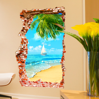 Sea view 3D cool wall self-sticky painting wall adhesive paper