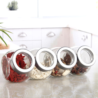 Sealed transparent glass spice jar seasoning bottle