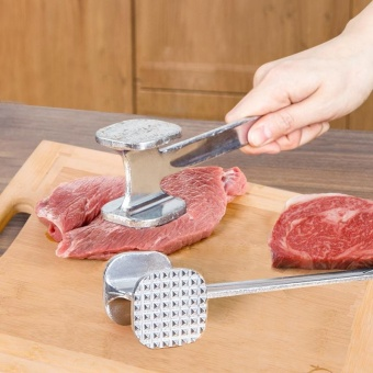 Seatreasure Home Kitchen Good Helper Double-Side Stainless Steel Aluminium Meat Tenderizer Hammer Size S - intl