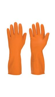 "Sensuous Industrial Rubber Heavy Duty Chemical Hand Gloves 13""28mil Flocklined CE ( Orange ) Pair Price Philippines"
