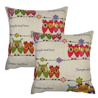 Set of 2 Cotton Linen Canvas Home Decorative Pillow Case ThrowPillow Cushion Cover 17 x 17 inches Owl