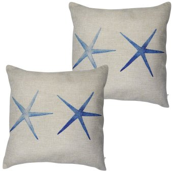 Set of 2 Cotton Linen Canvas Home Decorative Pillow Case ThrowPillow Cushion Cover 17 x 17 inches Starfish Design