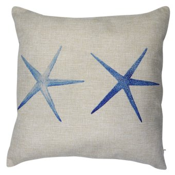 Set of 2 Cotton Linen Canvas Home Decorative Pillow Case ThrowPillow Cushion Cover 17 x 17 inches Starfish Design - 2