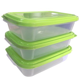(Set of 3) Food Keeper Transparent Body w/ Cover - 60163 GREEN