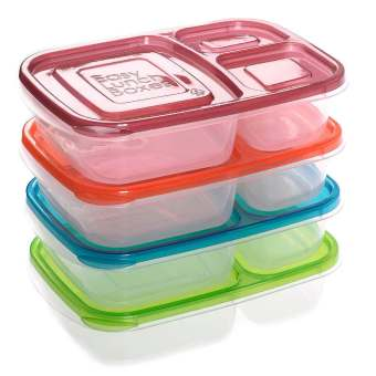 Set of 4 Pieces Lunch Boxes 3-Compartment Bento Lunch Containers - Intl Price Philippines