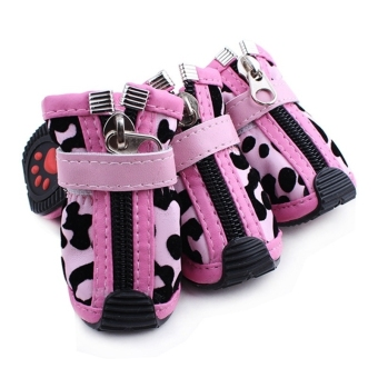 Set of 4pcs Leopard Style PU Leather Shoes Boots for Pet Dogs Size 5# (Pink)