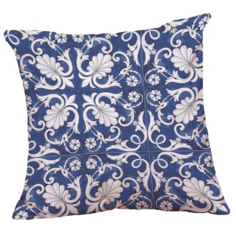 Set of 5 Chinese Style Blue and White Pattern Decorative ChenilleSquare Throw Pillow Cases Sofa Cushion Covers (18*18inch) - intl - 5