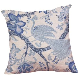 Set of 5 Chinese Style Blue and White Pattern Decorative ChenilleSquare Throw Pillow Cases Sofa Cushion Covers (18*18inch) - intl - 3