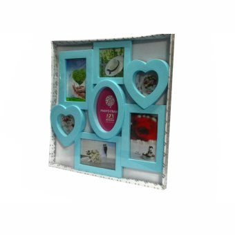 Seven Frame With Heart and Oval Design Collage Picture Frame (Blue) - picture 2