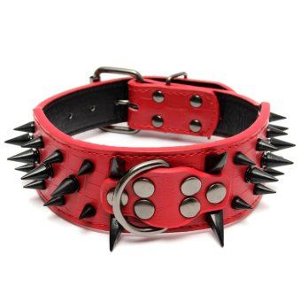Sharp Spiked Studded PU Leather Collar For Large Dog Pitbull Mastiff Heavy Duty Red