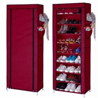 Shoe Rack Shelf Storage Closet Organizer Cabinet Portable 10 Layer(Maroon)