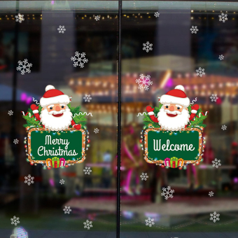Shop glass door stickers Christmas adhesive paper