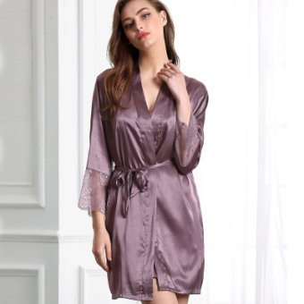 Silei silk ice spring and autumn long-sleeved lace women's bathrobe silk nightgown
