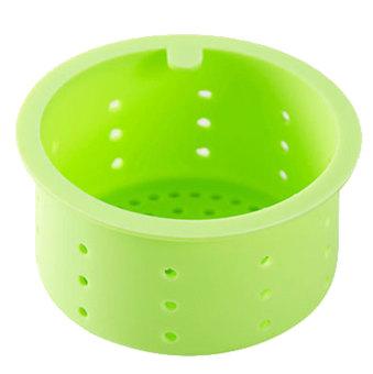 Silicone Kitchen Bathroom Sink Strainer Basket (Light Green)