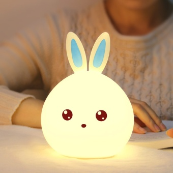 Silicone LED Night Light, Cute Bunny Rabbit Baby Nursery Lamp, TapControl 7-Color Breathing Light for Children, USB RechargeableColor:Blue Power:Zero point four - intl