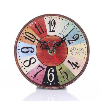 Simple Wood Retro Number Round Wall Clock For Living Room Bedroom style:3 - intl