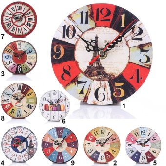 Simple Wood Retro Number Round Wall Clock For Living Room Bedroomstyle:5 - intl - 3