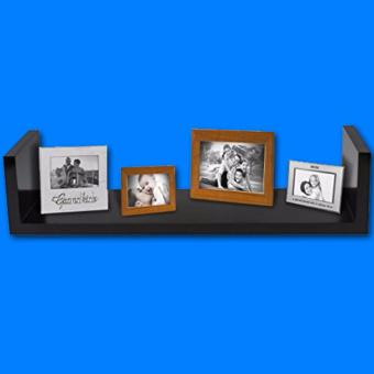 Single Floating Wall Shelf in Solid Wood with Shiny PU Finish - 2