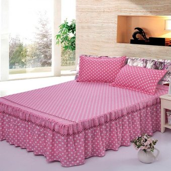 Single/Full/Queen/King Size High Quality Cotton Bed Skirt BedsheetBedclothes Polka Dot Pattern-17# Pink - intl