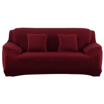 Slipcover Stretchable Pure Color Sofa Cushion Cover (Loveseat Wine Red) - intl