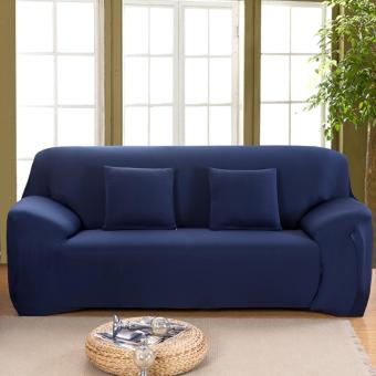 Slipcover Stretchable Pure Color Sofa Cushion Covers (Loveseat Navy Blue) - intl - 2