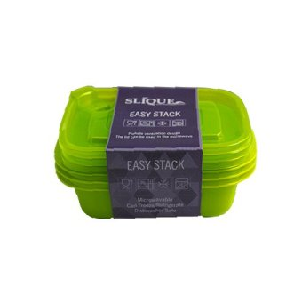 Slique 3pc Set Rectangular Crisper Food Container 500ml (Green)