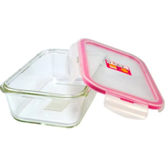 Slique SLQ-LK2821-PK Set of 3 Rectangular Glass Food Container830ml-Pink with Free Thermal Bag - 3