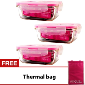 Slique SLQ-LK2823-PK Set of 3 Rectangular Glass Food Container330ml-Pink with Free Thermal Bag