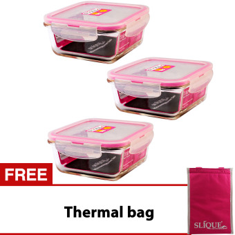 Slique SLQ-LK2826-PK-S3 Set of 3 Square Glass Food Container550ml-Pink