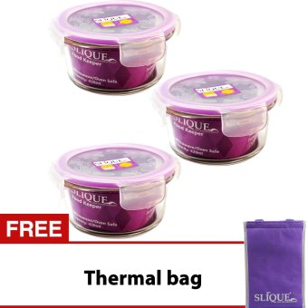 Slique SLQ-LK2829-PU-S3 Set of 3 Round Glass Food Container420ml-Purple w/ Free Thermal Bag