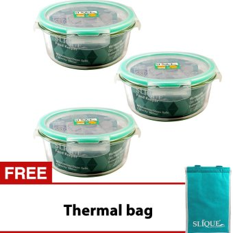 Slique SLQ-LK2829-TU-S3 Set of 3 Round Glass Food Container420ml-Turquoise w/ Free Thermal Bag