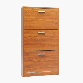 SM Wall Mounted Home 3 Panel Slim Shoe Cabinet (Oak)