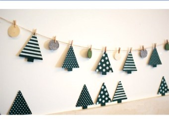 Small pine cute non-woven cloth Christmas decoration dress up banners flags