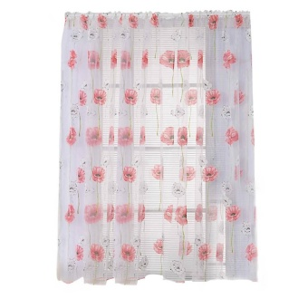 Small Pure Fresh Cloth Rural Curtain for Living Room Bedroom(Red) -intl