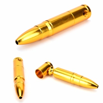 Smoking Pipe Aluminum Bullet Golden Tobacco Cigarette Cigar PipesHolder Chic Gold One Size - intl