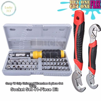 Snap 'N Grip Universal Wrenches 2 piece Set With Socket Set41-Piece Bit