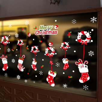 Snow Christmas bells holiday atmosphere glass adhesive paper