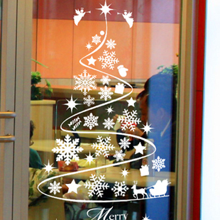 Snow Christmas glass stickers decorative glass door Christmas tree wall adhesive paper