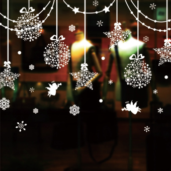 Snow Christmas restaurant wall adhesive paper glass window sliding door